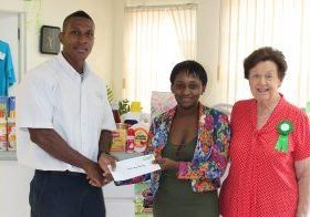 Curtis Belgrave – Operations Manager (Cemix Inc), Mrs. Maria Leon (Mother - Cancer patient recipient), Dr. Dorothy Cooke Johnson – President, Barbados Cancer Society.